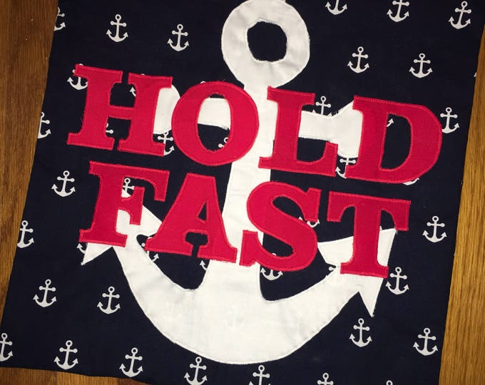 Hold Fast Navy Pride Pillow 16x16 Pillow Cover home Decor Farmhouse decor Christmas Mothers Day Gift Navy Graduation PIR