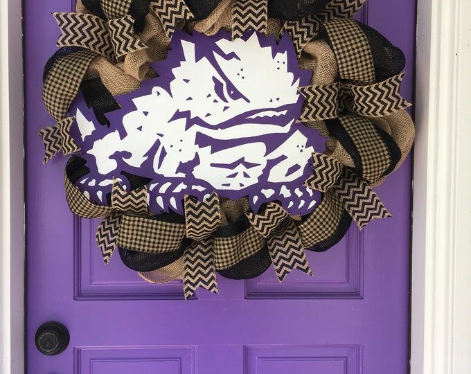 Stunning Oversized TCU Handpainted Black and Burlap Wreath TCU Decor Holiday Wreath Gameday with custom wooden horned frog