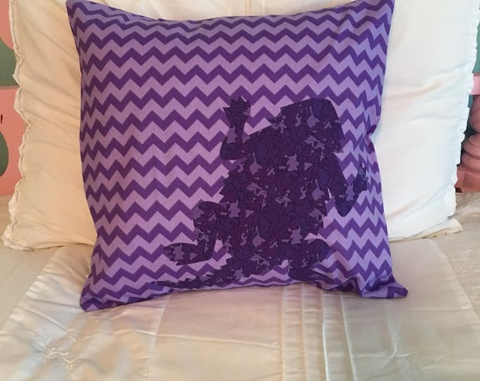 SALE: Purple Chevron TCU Horned Frog Pillow 16x16 Pillow Cover Purple with Purple Camouflage Applique Frog RTS