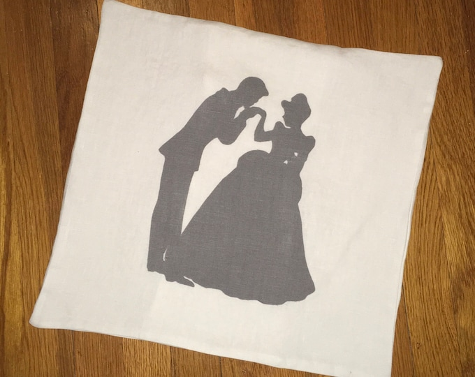 100% Washed French Linen Gray Cinderella Inspired Shadow Pillow Cover Farmhouse Pillow 16x16 Pillow Cover Wedding Gift Valentine