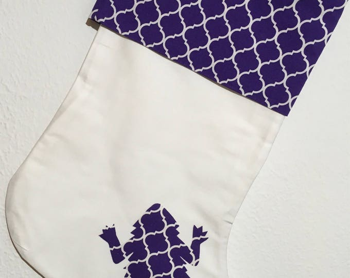 TCU Stocking with purple tile cuff and horned frog appliqué Christmas Stocking RTS TCU Christmas tcu Decor