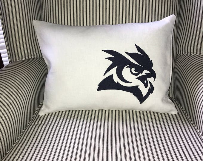 100% Washed French Linen White Linen Rice Owl Pillow 12x16 Pillow Cover Navy Owl Applique