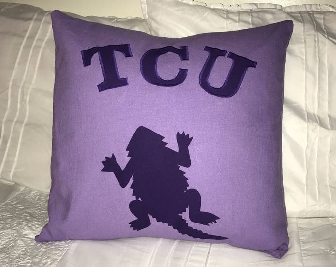 Purple Linen TCU Horned Frog Pillow 16x16 Pillow Cover TCU home decor tcu Graduation Gift office decor