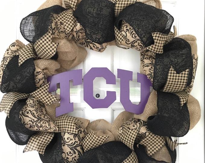 Large TCU Handpainted Purple and Burlap Wreath TCU Decor Holiday Wreath Gameday Farmhouse Decor