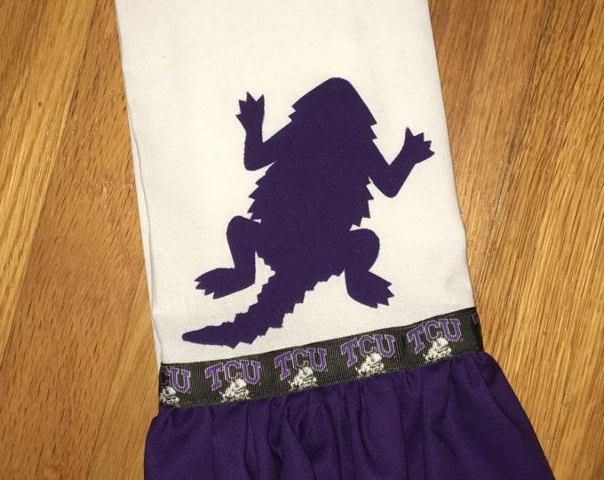 TCU Horned Frog Ruffled Tea Towel Hostess Gift Solid Purple Kitchen Decor