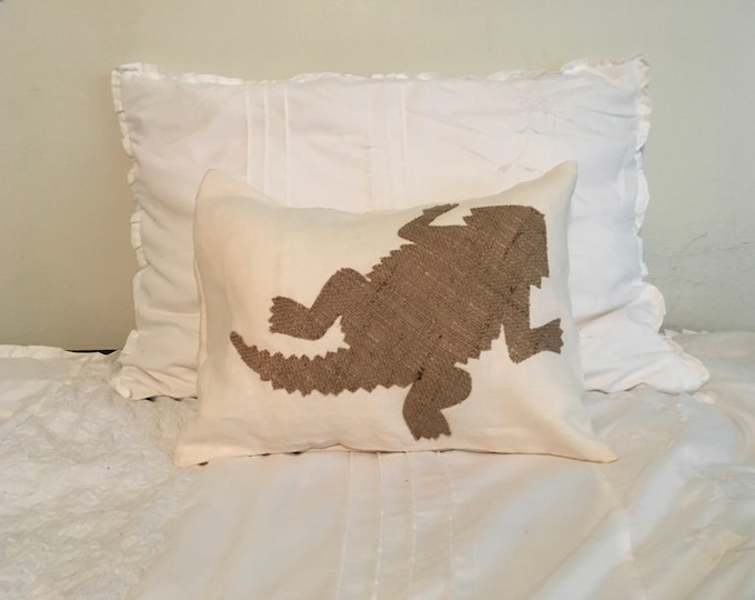 100% Washed French Linen Cream and burlap TCU Pillow 12x16 Pillow Cover Horned Frog Applique TCU Home Decor