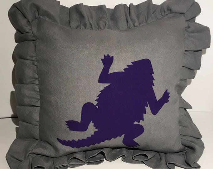 100% Washed French Linen Ruffled Gray TCU Horned Frog Pillow 16x16 Pillow Cover Purple Applique