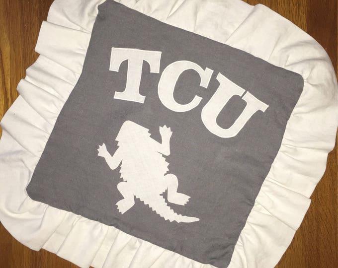 100% Washed French Linen Ruffled Gray TCU Horned Frog Pillow 16x16 Pillow Cover tcu Applique TCU decor