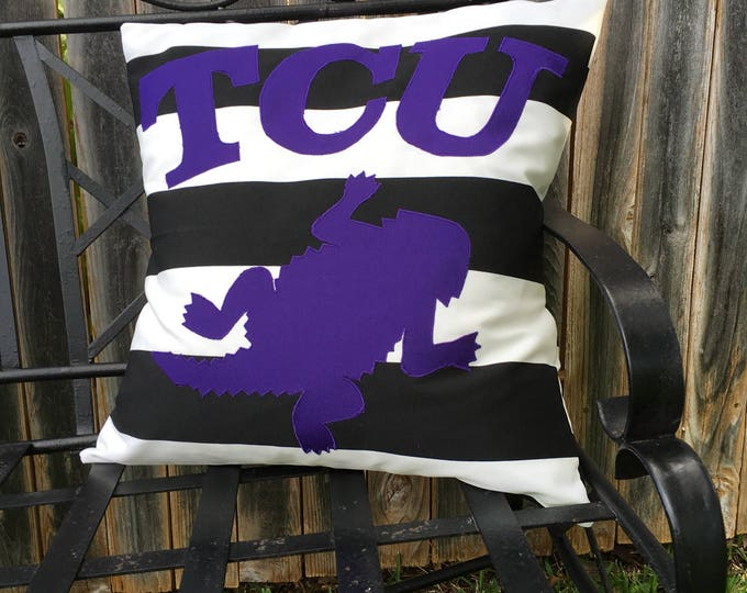 Black and White Striped Outdoor TCU Horned Frog Pillow 20x20 Pillow Cover outdoor Decor Gameday TCU decor Tailgating Ready to Ship