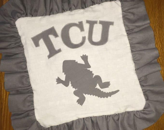 100% Washed French Linen Ruffled White TCU Horned Frog Pillow 16x16 Pillow Cover tcu Applique TCU decor
