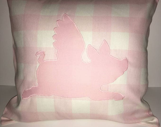 Pink Buffalo Check Flying Pig Pillow 16x16 Pillow Cover home Decor Farmhouse Decor Christmas valentine pillow