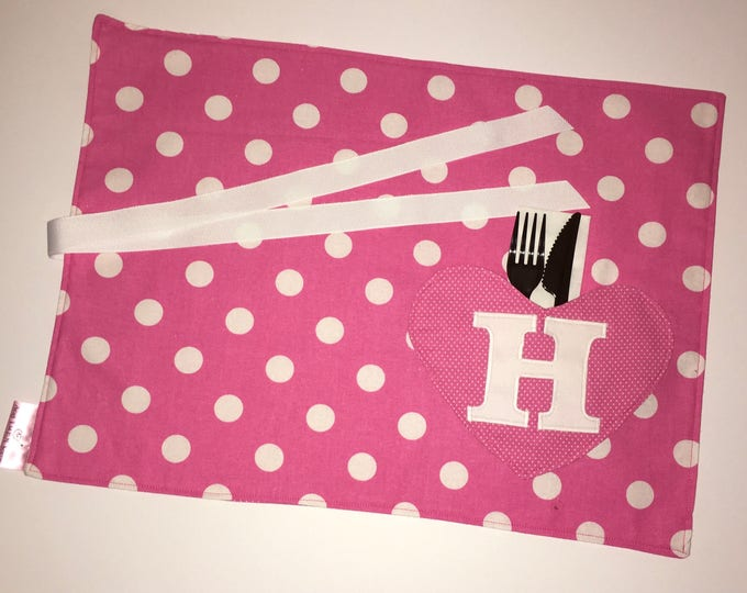 Personalized Heart Pocket Placemat with Initial for Tailgating Lunchmat Travel placemat Pocket Placemat linens Toddler Placemat