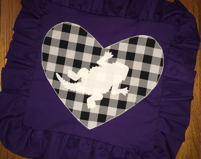 Purple Ruffled Buffalo Plaid TCU Horned Frog Pillow 16x16 Pillow Cover TCU home Decor Farmhouse Decor tcu tailgaiting Ready to Ship