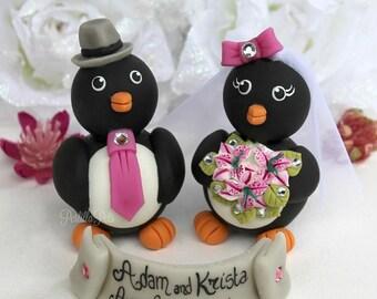 Wedding penguin cake topper, love bird cake topper, custom cake topper with banner, personalized bride and groom, winter wedding