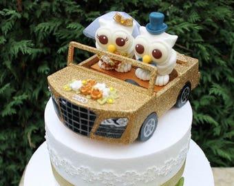 Car wedding cake topper, custom owl cake topper, bride and groom in a car, glitter car cake topper, love bird cake topper, car model
