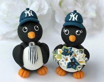 Wedding penguin cake topper, custom baseball cake topper, love birds wedding with banner, sport wedding