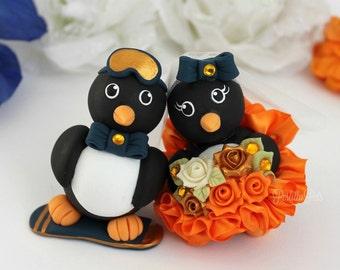 Penguin custom wedding cake topper, love bird cake topper, hobby cake topper, dancer and snowboard cake topper