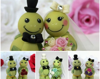 Turtle wedding cake topper love turtles bride and groom with