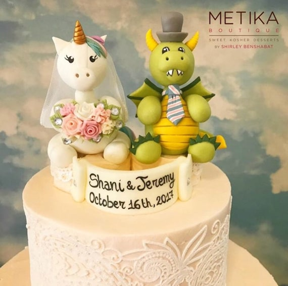 Unicorn and dragon wedding cake topper custom bride and groom | Etsy