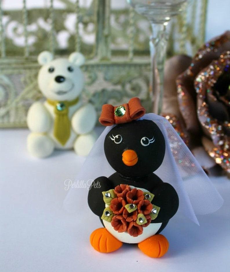 Polar bear and penguin wedding cake topper custom cute ...