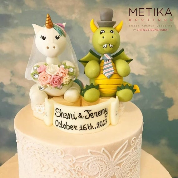 Wedding cake topper unicorn bride and dragon groom cake | Etsy