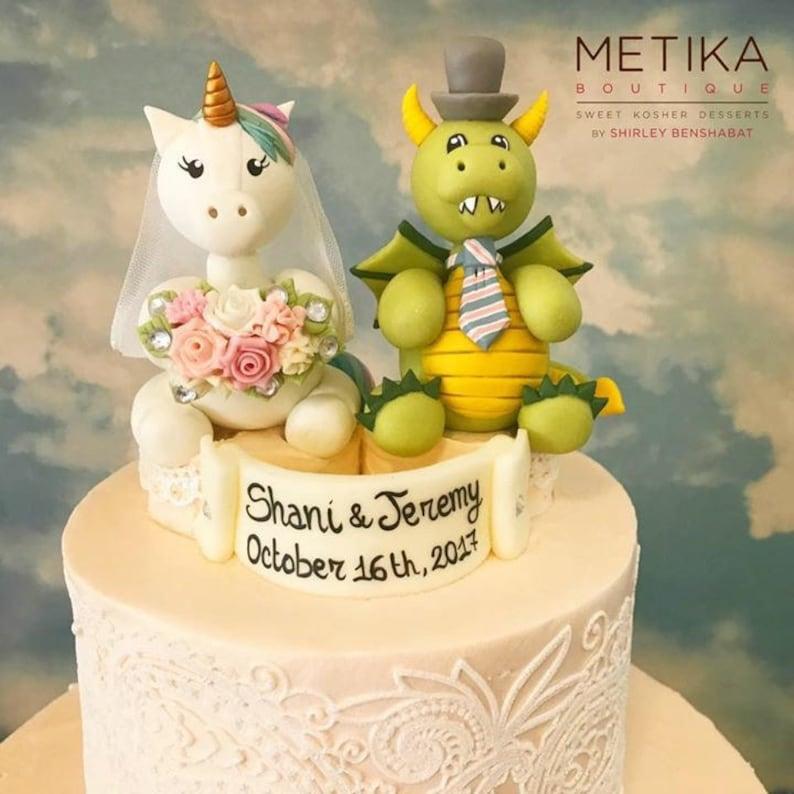 Wedding Cake Topper Unicorn Bride And Dragon Groom Cake Etsy