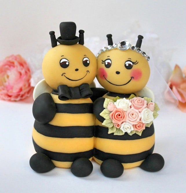 Wedding bee cake topper bumble bee cake topper hugging bride | Etsy