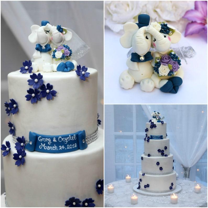 Elephant Cake Topper Wedding Cake Topper Custom Cake Topper Animal Cake Topper Navy Blue Wedding