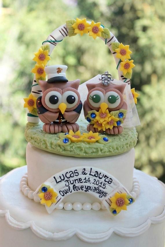 Owl love bird wedding cake topper military cake topper   Etsy