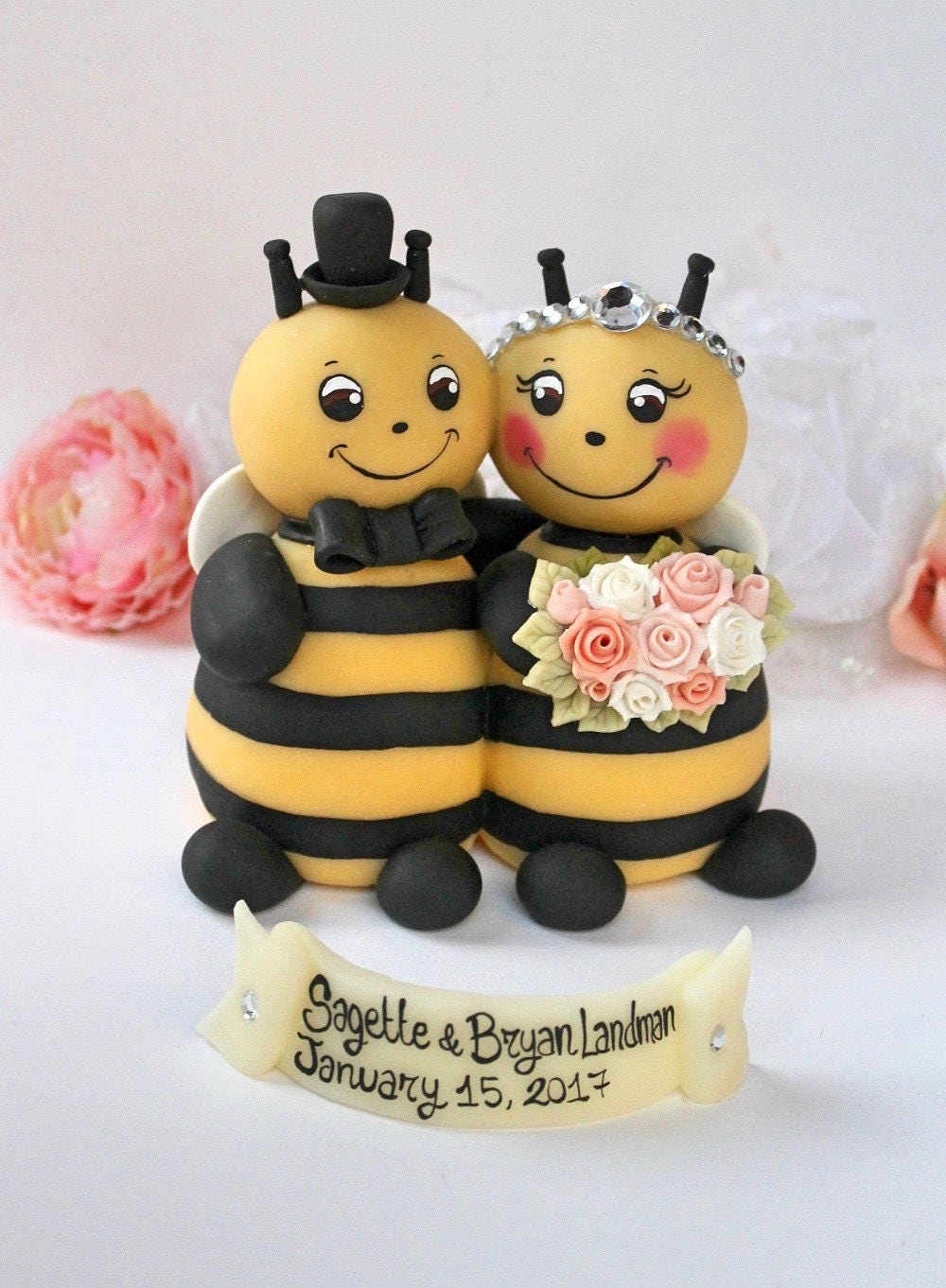 Wedding bee cake topper bumble bee cake topper hugging ...