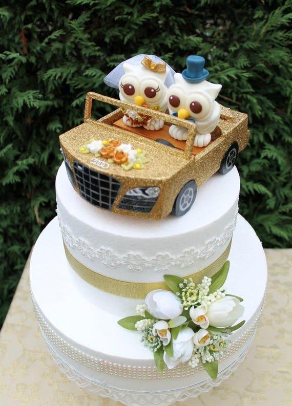 Auto Hochzeitstorte Benutzerdefinierte Eule Kuchen Topper Etsy