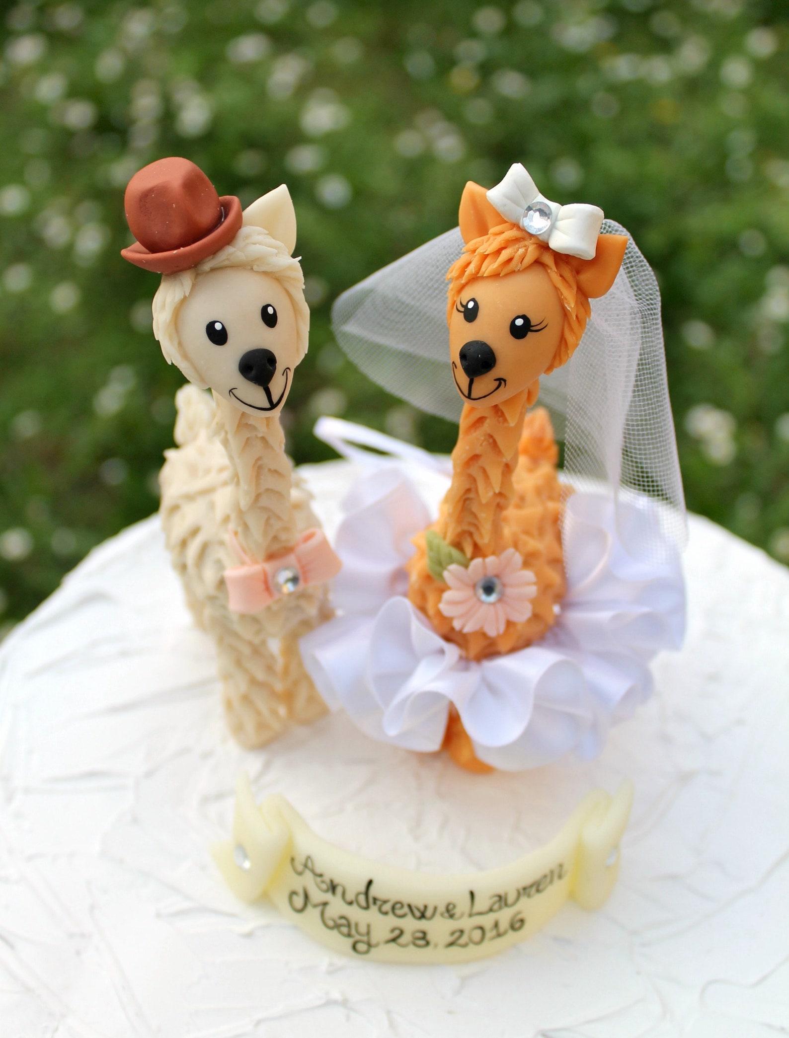 Hochzeit Cake Topper Lama
