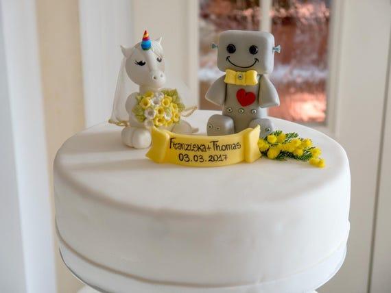 Unicorn Cake Topper Robot Cake Topper Wedding Cake Topper Etsy