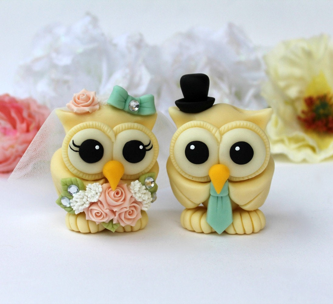 Owl cake toppers for wedding bride and groom love bird cake | Etsy
