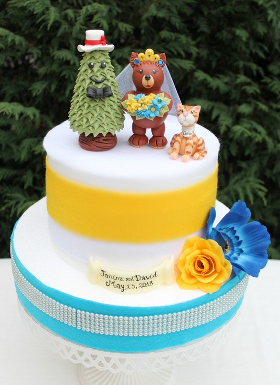 Tree wedding cake topper bear and pine cake topper cake | Etsy
