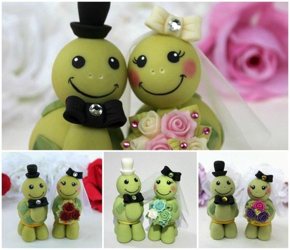 Hochzeit Schildkrote Kuchen Topper Benutzerdefinierte Braut Etsy