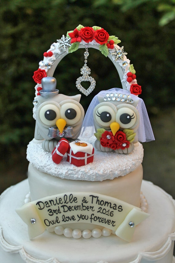 Christmas Wedding Cake Toppers.Love Bird Cake Topper Owl Custom Wedding Cake Topper Christmas Winter Wedding Personalized Wedding Cake Topper