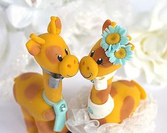Custom giraffe wedding cake topper, teal wedding