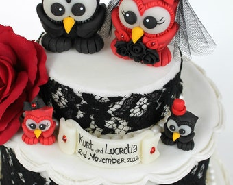 Owl love bird wedding cake topper with two baby owls and banner, gothic cake topper