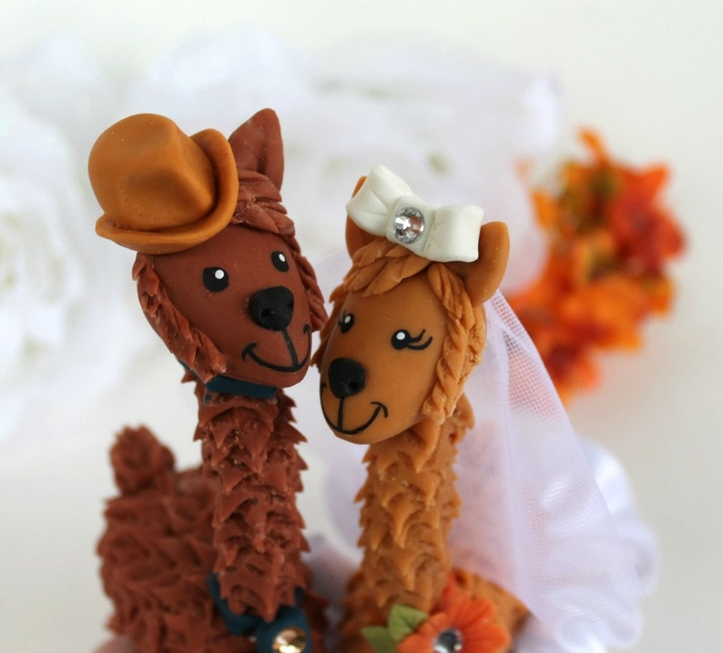 Llama wedding cake topper with personalized banner custom ...