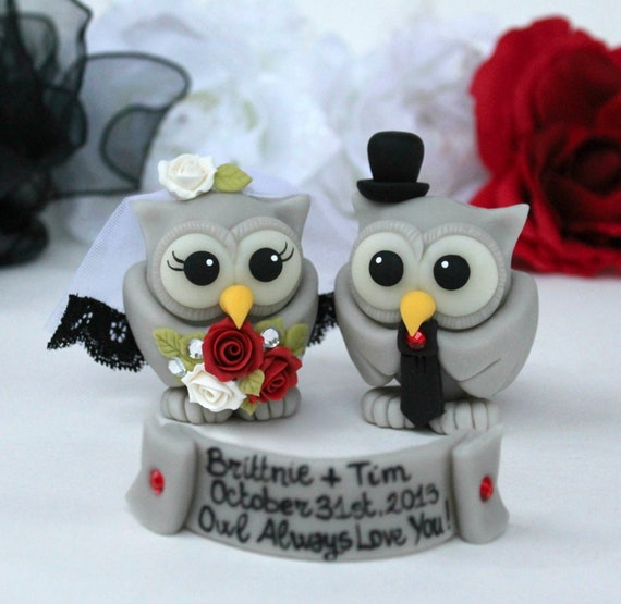 Unique Wedding Cake Topper Halloween Cake Topper Gothic Wedding Custom Owl Bride And Groom Owl Cake Topper