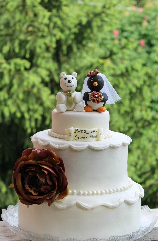 Custom wedding cake topper polar bear with penguin for a ...
