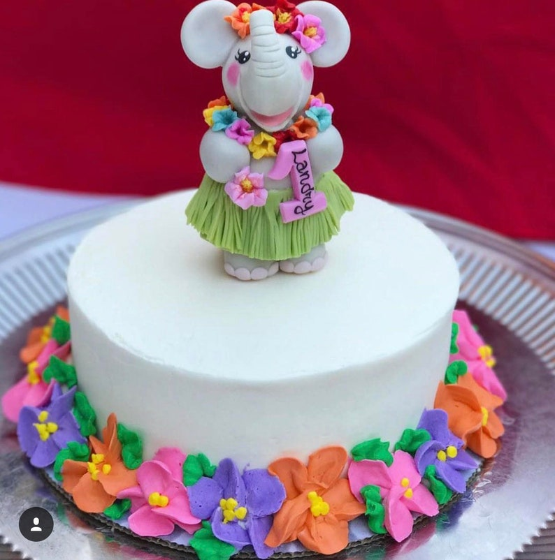 First Birthday Cake Topper For A Baby Girl Elephant