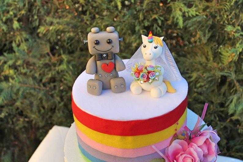 Custom Wedding Cake Topper Unicorn And Robot Cake Topper Etsy