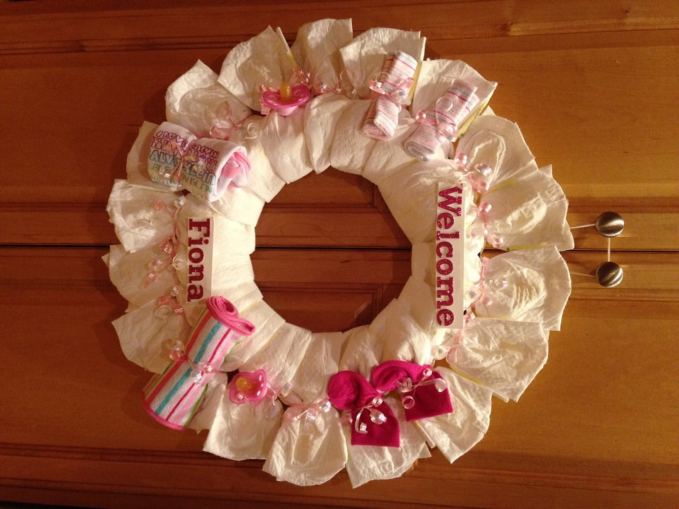 Girl Diaper Wreath A Unique Baby Shower Gift | Etsy