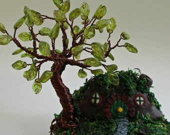 A Trip To Hobbiton ~ OOAK Wire Tree Sculpture ~ Hobbit LOTR Inspired ~