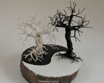 Handmade Ying & Yang Wood And Wire Tree Sculpture