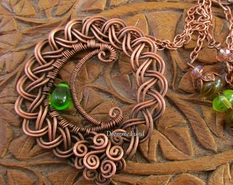 Celtic Spring Moon ~ Wirework Crescent Necklace