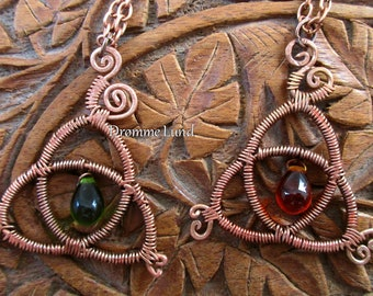 Triquetra Pendant With Green Or Amber Drop ~ Trinity Knot ~ Wirework Celtic Necklace