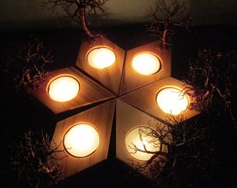 Trees In Autumn ~~ Decorative Autumn Themed Sculpture ~ Tea Light Holder / Plate (Tree Of Life Candleholder)
